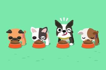 Cães bonitos de desenho vetorial com tigelas de comida