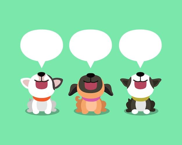 Cães bonitos dos desenhos animados com bolhas do discurso