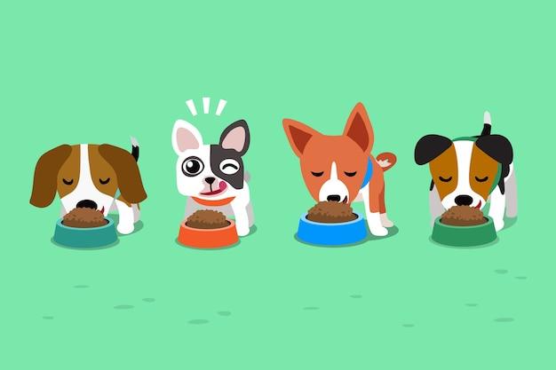 Cães bonitos dos desenhos animados com tigelas de comida