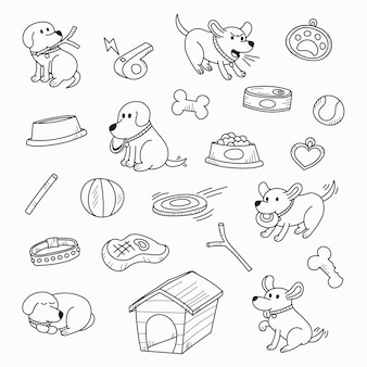Cães bonitos dos desenhos animados em ações encantadoras e brincar com brinquedos estilo desenhado mão para elem design