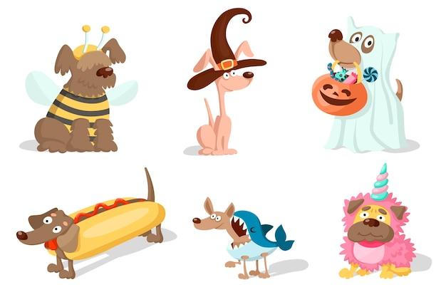 Cães bonitos dos desenhos animados em fantasias de carnaval para o dia das bruxas, purim ou natal.