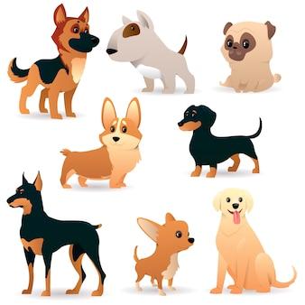 Cães bonitos e engraçados dos desenhos animados