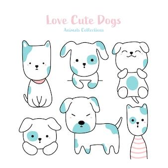 Cães bonitos estilo desenhado à mão