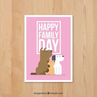 Cães cartão de dia da família no design plano