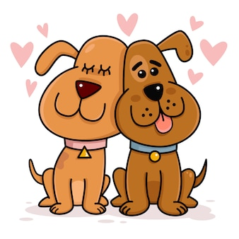 Cães casal apaixonado