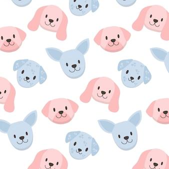 Cães coloridos bonitos enfrentam padrão