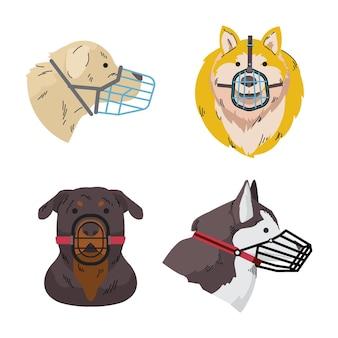 Cães com focinheira de design plano ilustrados
