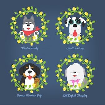 Cães com moldura de flor