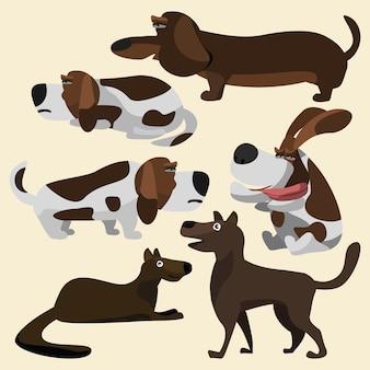 Cães conjunto ilustração vetorial