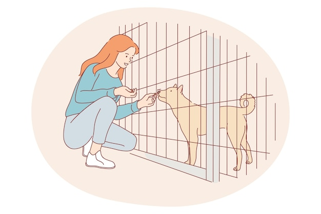 Cães de abrigo, voluntariado, ajudando o conceito de animais. jovem personagem de desenho animado feliz sentada