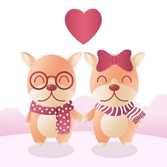Cães de casal no lenço de inverno com o coração. conceito de amor