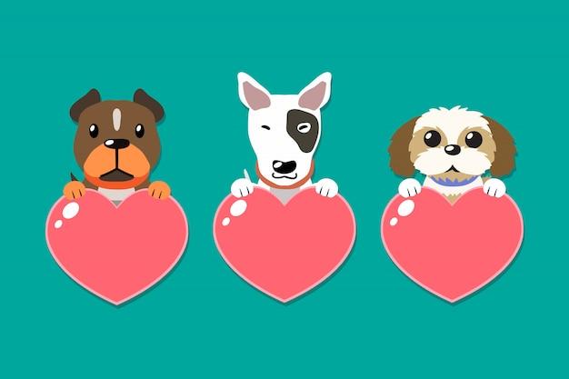 Cães de desenho vetorial com conjunto de sinais de coração