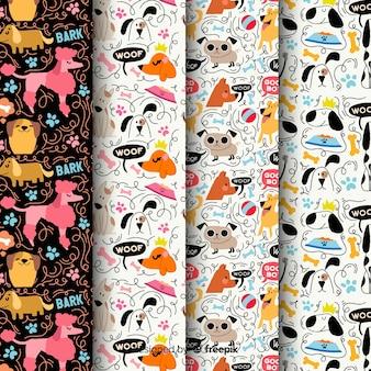 Cães de doodle colorido e pacote de padrão de palavras