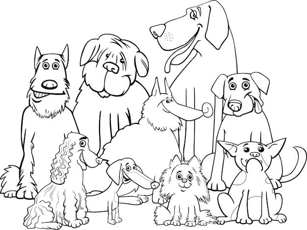 Cães de raça pura colorir página