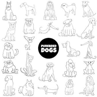 Cães de raça pura dos desenhos animados definir página de livro de cores