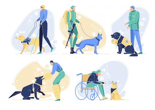 Cães de serviço com conjunto de proprietários. animais profissões