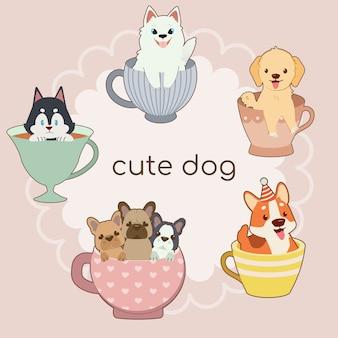 Cães dentro de conjunto de xícaras de chá