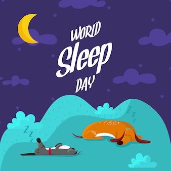Cães dormindo dia mundial de sono