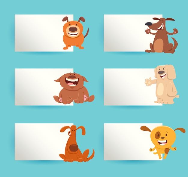 Cães dos desenhos animados com conjunto de elementos de cartões
