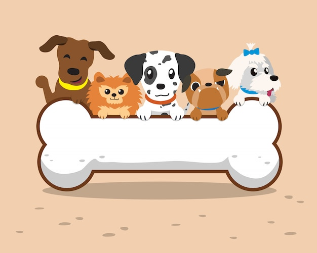 Cães dos desenhos animados com osso grande