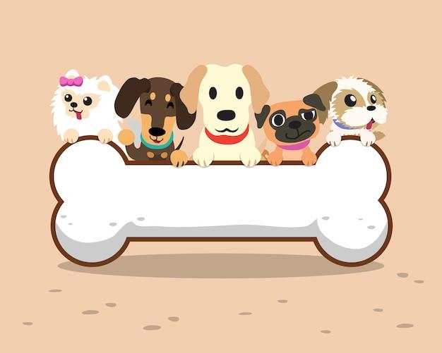 Cães dos desenhos animados com sinal de osso grande