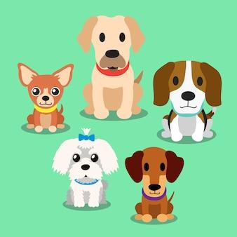 Cães dos desenhos animados em pé