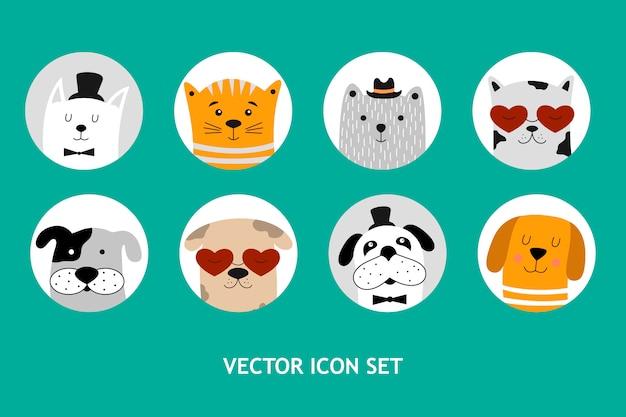 Cães e gato conjunto de ícones.
