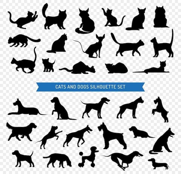 Cães e gatos preto silhueta conjunto
