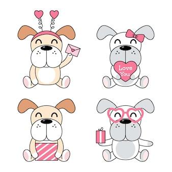 Cães fofos com presente, carta, coração.