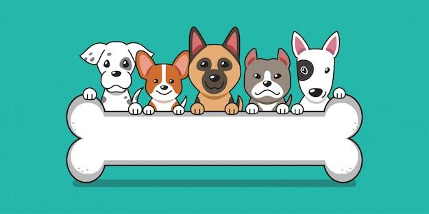 Cães fofos de desenho vetorial com ossos grandes