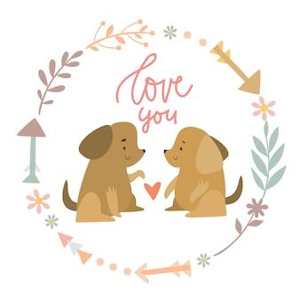 Cães fofos em uma coroa de flores te amam