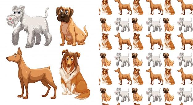 Cães sem costura padrão dos desenhos animados