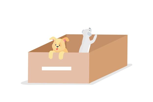 Cães sem-teto cinza e gengibre personagens planos detalhados. salve animais desabrigados. maca de cachorro, caixa com cachorrinhos na rua isolada.