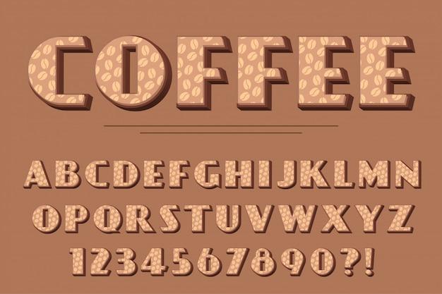 Café 3d moderno alfabeto letras, números e símbolos. tipografia deliciosa.