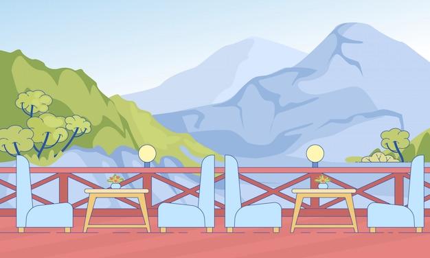 Café aberto terraço com cadeiras de mesa nas montanhas