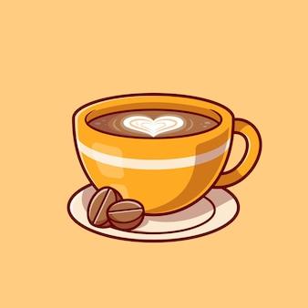Café amor espuma com ilustração de ícone dos desenhos animados de feijão.