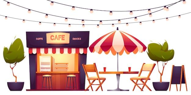 Café ao ar livre, cabine de verão no parque, comida de rua