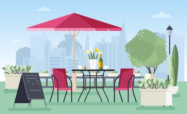 Café ao ar livre do verão, café ou restaurante com mesa, cadeiras, guarda-chuva e placa de boas-vindas em pé na rua da cidade contra arranha-céus em fundo. ilustração colorida em estilo simples.