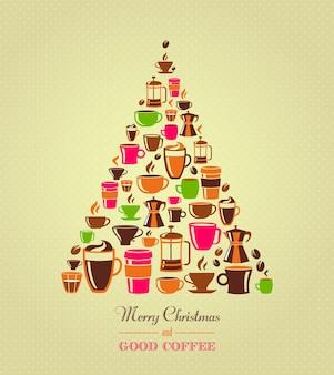 Café árvore de natal vintage