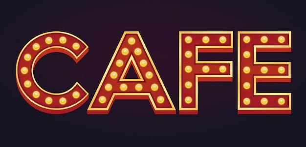 Cafe bandeira alfabeto sinal letreiro vintage lâmpada