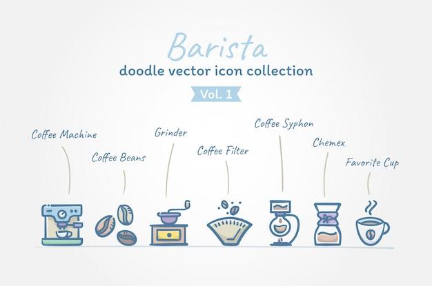 Café barista doodle vector coleção de ícone