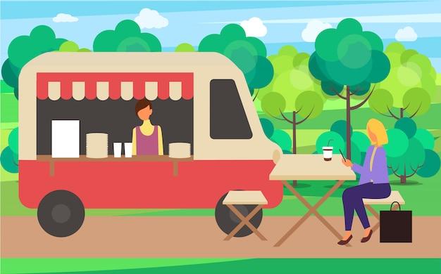 Café caminhão café rua bebidas feira de verão