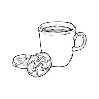 Café, chá de chocolate quente e biscoitos isolados no fundo branco. ilustração em vetor desenhada à mão