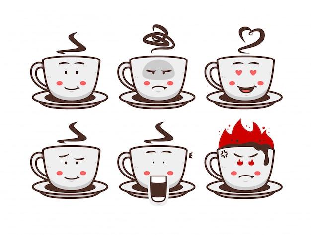 Café chocolate bebida quente caneca xícara personagem dos desenhos animados mascote ilustração conjunto emoji com expressão do rosto