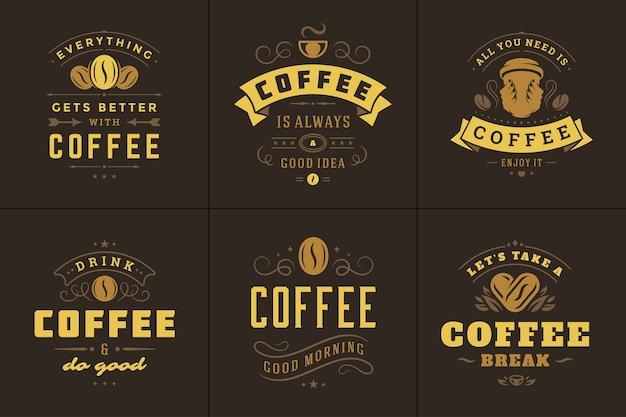 Café cita conjunto de ilustrações de frases inspiradoras de estilo tipográfico vintage