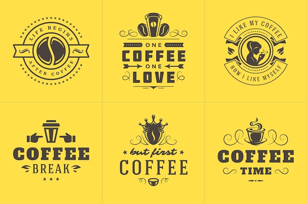 Café cita conjunto de ilustrações de frases inspiradoras de estilo tipográfico vintage Vetor Premium