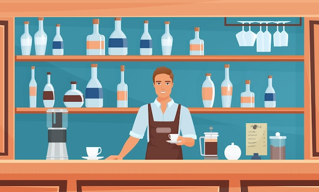 Café coffeeshop bar restaurante com equipe de barista hipster segurando uma xícara de café