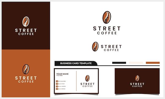 Café com conceito de design de logotipo de rua e modelo de cartão de visita