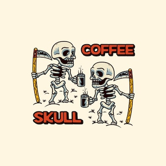Café com dois crânios estilo moderno