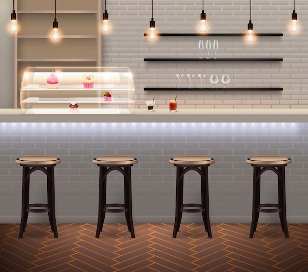 Café com interior moderno e moderno com bancos de bar e balcão com itens de confeitaria na parede de tijolos